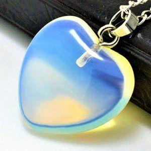 "Jewelry - NEW 3/4"" Shiny Rainbow Opal Quartz Heart Necklace"